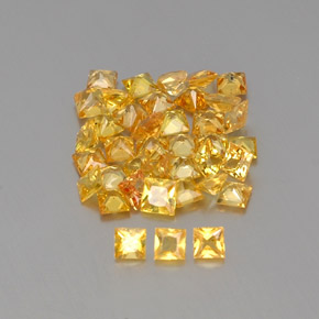 Yellow Golden Sapphire Gem - 0.1ct Princess-Cut (ID: 362175)