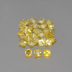 Yellow Golden Sapphire Gem - 0.1ct Princess-Cut (ID: 362177)