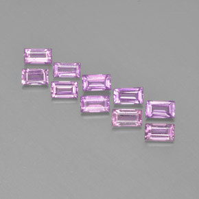 Medium Pinkish Purple Zafiro Gema - 0.1ct Faceta en Estilo Baguette (ID: 367281)