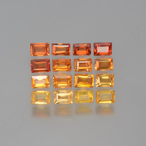 Yellow Orange Sapphire Gem - 0.2ct Baguette Facet (ID: 372114)