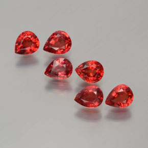 Reddish Orange Sapphire Gem - 0.3ct Pear Facet (ID: 372159)