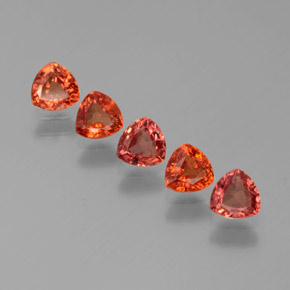 Red Orange Sapphire Gem - 0.3ct Trillion Facet (ID: 375288)