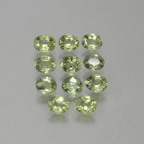 Yellowish Green Sapphire Gem - 0.4ct Oval Facet (ID: 381773)