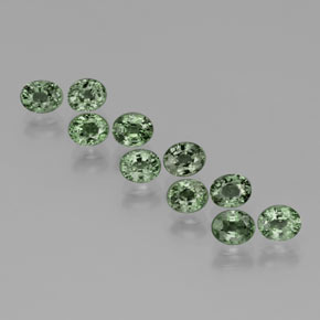 Green Sapphire Gem - 0.6ct Oval Facet (ID: 383429)