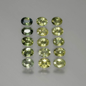 Yellowish Green Sapphire Gem - 0.2ct Oval Facet (ID: 387316)