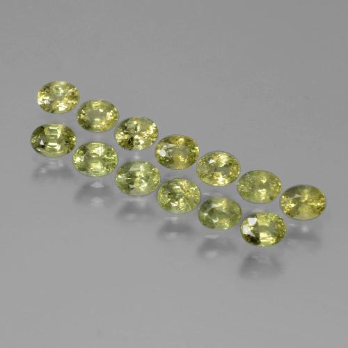Yellowish Green Sapphire Gem - 0.3ct Oval Facet (ID: 387318)