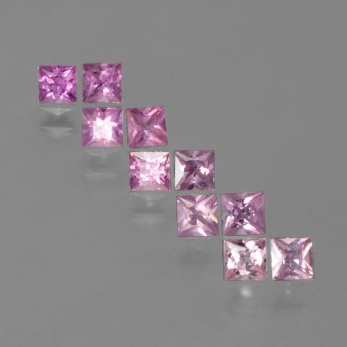 Bright Pinkish Purple Zafiro Gema - 0.2ct Corte Princesa (ID: 388524)