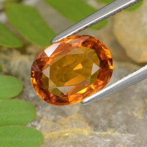 Yellow Orange Sapphire Gem - 3.9ct Oval Facet (ID: 393898)