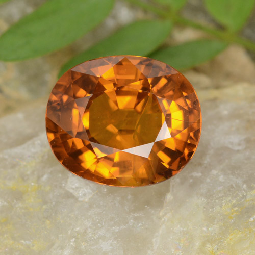Orange Sapphire Gem - 4.1ct Oval Facet (ID: 398774)