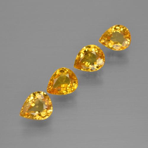 Yellow Golden Sapphire Gem - 0.6ct Pear Facet (ID: 400010)
