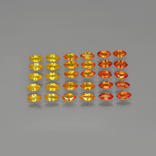 Yellow Orange Sapphire Gem - 0.2ct Marquise Facet (ID: 401277)
