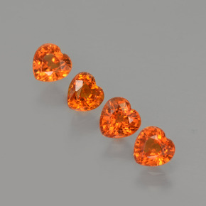 0.4ct Heart Facet Orange Sapphire Gem (ID: 406538)