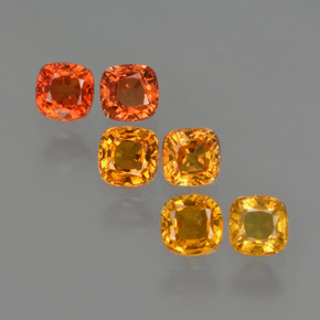 0.5ct Cushion-Cut Yellow Orange Sapphire Gem (ID: 407932)
