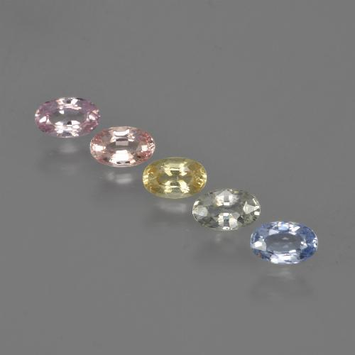 Multicolor Sapphire Gem - 0.4ct Oval Facet (ID: 416905)