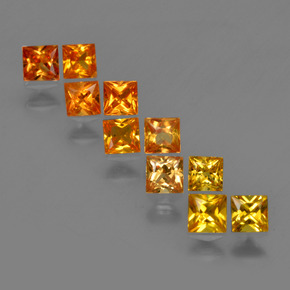 Bright Orange Sapphire Gem - 0.2ct Princess-Cut (ID: 420176)