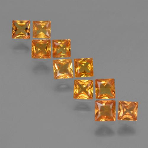 Yellow Orange Sapphire Gem - 0.2ct Princess-Cut (ID: 420179)
