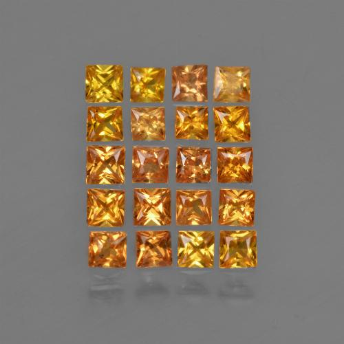 Brownish Orange Sapphire Gem - 0.1ct Princess-Cut (ID: 420261)