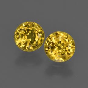 Deep Yellow Sapphire Gem - 0.8ct Round Facet (ID: 420953)