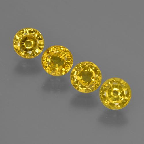 Deep Yellow Sapphire Gem - 0.4ct Round Facet (ID: 421022)