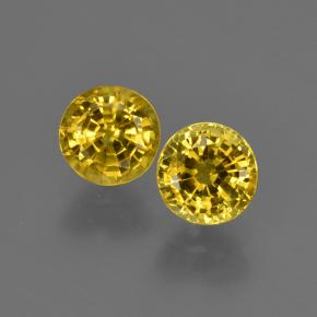 Yellowish Gold Sapphire Gem - 0.7ct Round Facet (ID: 421041)