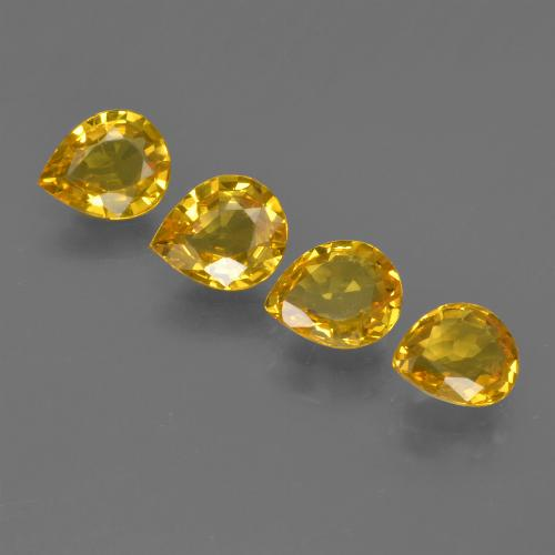 Yellow Golden Sapphire Gem - 0.6ct Pear Facet (ID: 421830)