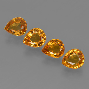 0.69 ct Pear Facet Deep Orange Sapphire Gemstone 5.95 mm x 4.9 mm (Product ID: 421845)