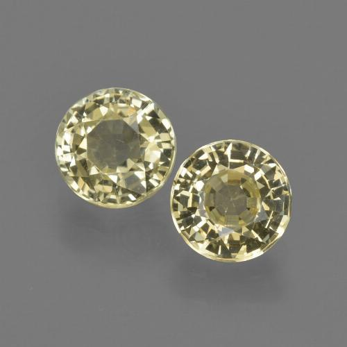 Pale Yellow Sapphire Gem - 0.9ct Round Facet (ID: 423722)