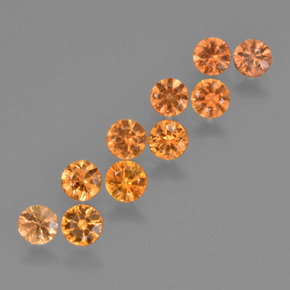 Yellow Orange Sapphire Gem - 0.2ct Diamond-Cut (ID: 423759)