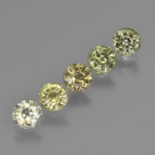 Yellowish Green Sapphire Gem - 0.5ct Round Facet (ID: 423918)
