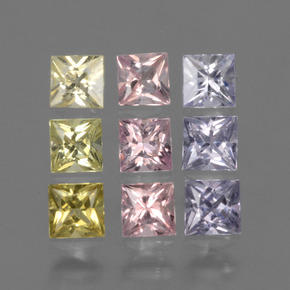 Multicolor Sapphire Gem - 0.2ct Princess-Cut (ID: 424360)