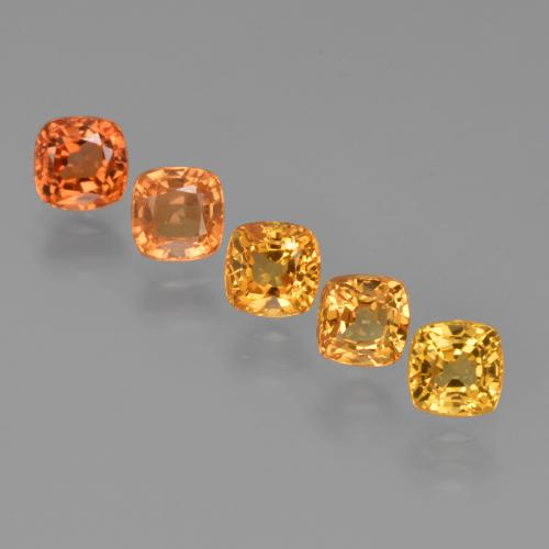 Yellow Orange Sapphire Gem - 0.6ct Cushion-Cut (ID: 427197)