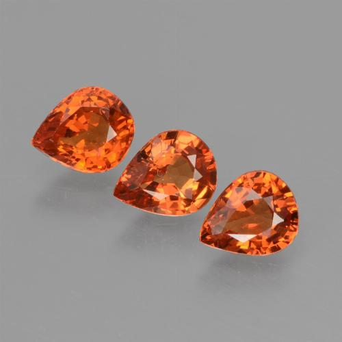 Medium Orange Sapphire Gem - 0.6ct Pear Facet (ID: 427358)