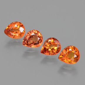 Amber Orange Sapphire Gem - 0.9ct Pear Facet (ID: 427361)
