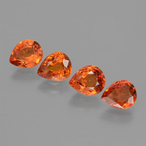 0.8ct Pear Facet Deep Orange Sapphire Gem (ID: 427365)