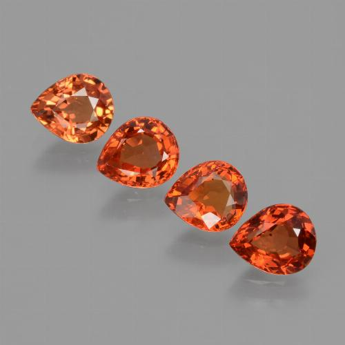 Orange Sapphire Gem - 0.8ct Pear Facet (ID: 427366)