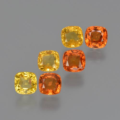 Yellow Orange Sapphire Gem - 0.4ct Cushion-Cut (ID: 427570)