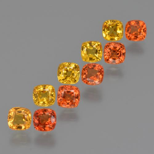 Yellow Orange Sapphire Gem - 0.5ct Cushion-Cut (ID: 427571)
