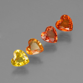 Yellow Orange Sapphire Gem - 0.4ct Heart Facet (ID: 428035)