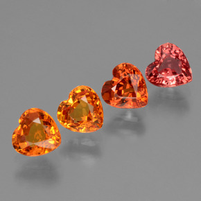 Red Orange Sapphire Gem - 0.5ct Heart Facet (ID: 428036)
