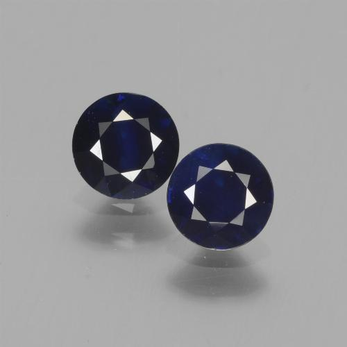 0.60 ct Diamond-Cut Dark Blue Sapphire Gemstone 5.10 mm  (Product ID: 441524)