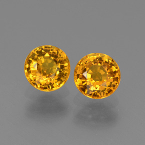 Bright Orange Sapphire Gem - 0.7ct Round Facet (ID: 443564)