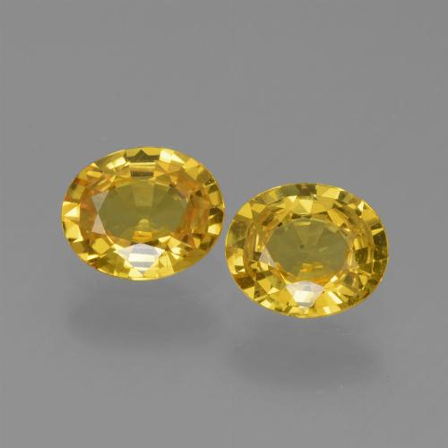 Deep Yellow Sapphire Gem - 0.7ct Oval Facet (ID: 443614)