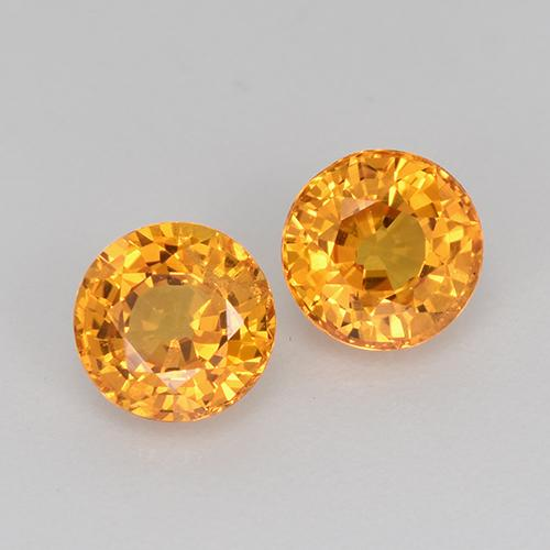 Deep Orange-Gold Sapphire Gem - 0.7ct Round Facet (ID: 443901)