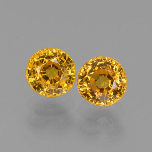 Dark Golden Sapphire Gem - 0.7ct Round Facet (ID: 444375)