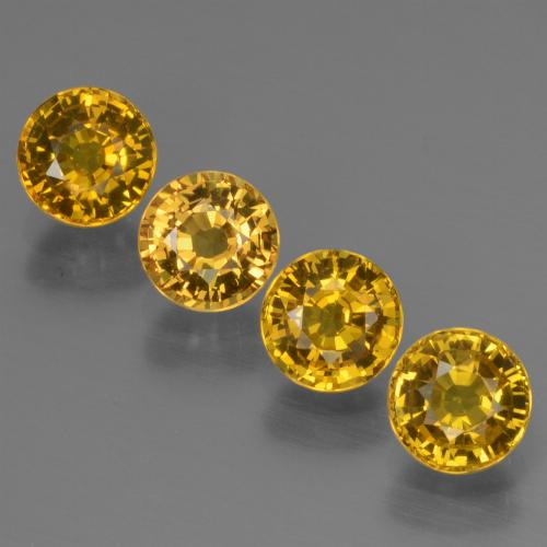 Deep Yellow Sapphire Gem - 0.8ct Round Facet (ID: 444701)