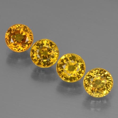 Golden Yellow Sapphire Gem - 0.8ct Round Facet (ID: 444709)