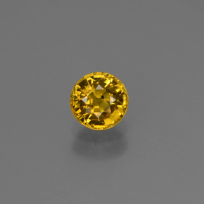 Golden Yellow Sapphire Gem - 0.7ct Round Facet (ID: 444835)