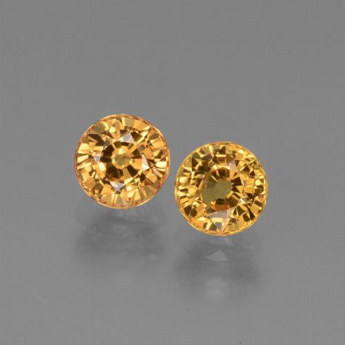 Medium Orange-Gold Sapphire Gem - 0.7ct Round Facet (ID: 445183)