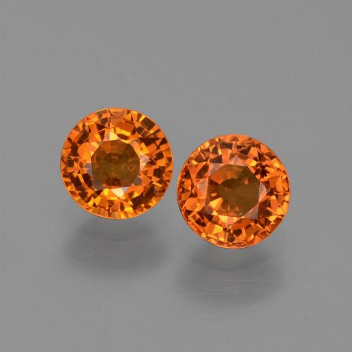 Orange Sapphire Gem - 0.7ct Round Facet (ID: 446232)