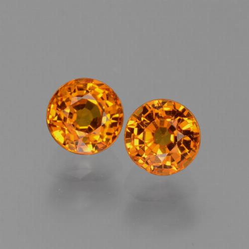 Orange Sapphire Gem - 0.8ct Round Facet (ID: 446233)